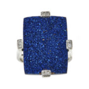 CLOSEOUT! Genuine Silver Blue Drusy Agate and Diamond-Accent Rectangular Ring
