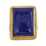 Genuine Lapis 18K Yellow Gold Over Silver Ring