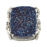 CLOSEOUT! Genuine Silver Blue Drusy Agate and 1/10 CT. T.W. Diamond Ring