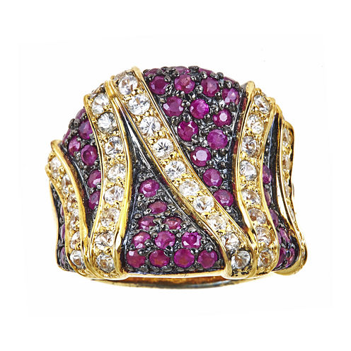 LIMITED QUANTITIES  Lead Glass-Filled Hot Pink Ruby and Lab-Created White Sapphire Ring