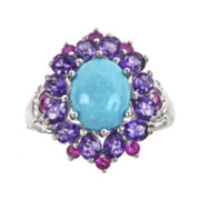 CLOSEOUT! Genuine Turquoise and Amethyst Flower Ring