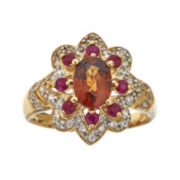Genuine Brown Zircon and Lead Glass-Filled Hot Pink Ruby Flower Ring