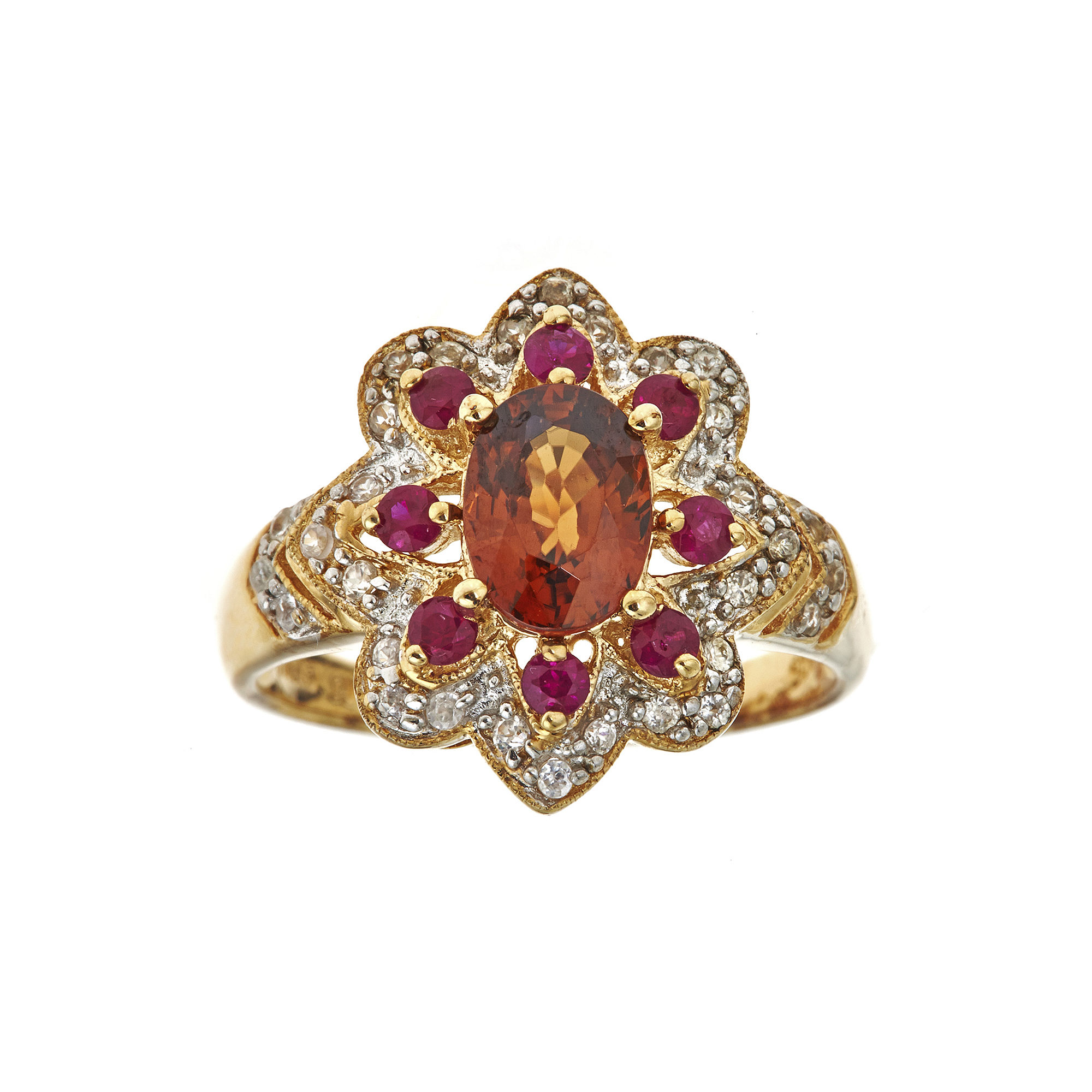 LIMITED QUANTITIES Genuine Brown Zircon and Lead Glass-Filled Hot Pink Ruby Flower Ring