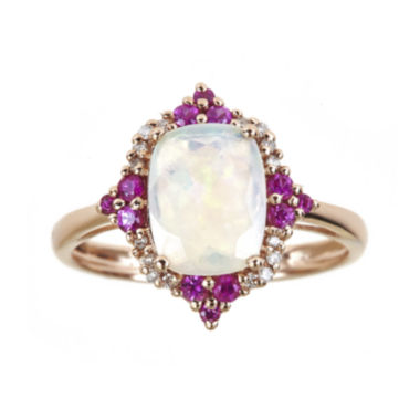 jcpenney.com | LIMITED QUANTITIES  Genuine Australian Opal and Lead Glass-Filled Hot Pink Ruby Ring