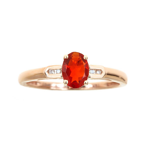 LIMITED QUANTITIES  Genuine Fire Opal and Diamond-Accent Ring