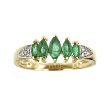 jcpenney.com | LIMITED QUANTITIES  Genuine Emerald and Diamond-Accent 5-Stone Ring