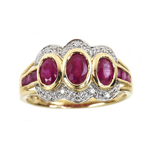 LIMITED QUANTITIES  Lead Glass-Filled Ruby and Diamond-Accent Ring