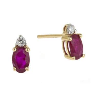 jcpenney.com | LIMITED QUANTITIES  Lead Glass-Filled Ruby and Diamond-Accent Stud Earrings