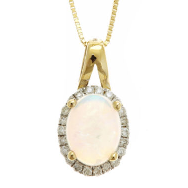 jcpenney.com | LIMITED QUANTITIES  Genuine Australian Opal and Diamond-Accent Pendant Necklace