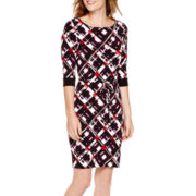 Liz Claiborne® Elbow-Sleeve Print Sheath Dress