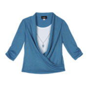 by&by Girl Wrap Top and Necklace - Girls 7-16