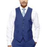 Collection by Michael Strahan Blue Herringbone Suit Vest - Classic Fit
