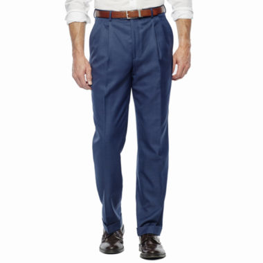 jcpenney.com | Stafford® Travel Medium Blue Pleated Suit Pants - Classic Fit