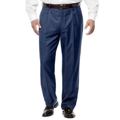 Stafford® Travel Medium Blue Pleated Suit Pants - Portly Fit