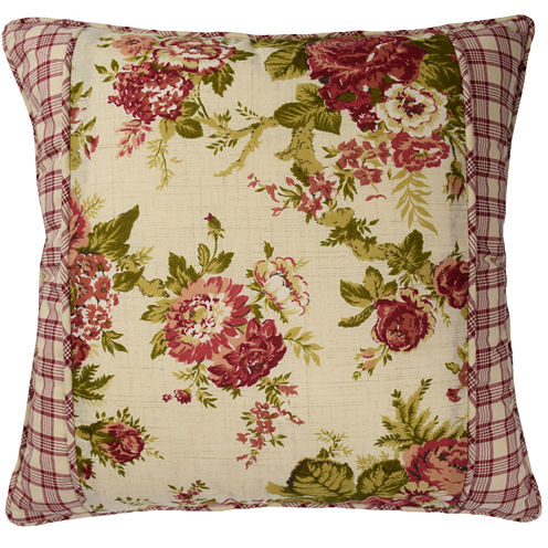 "Waverly® Norfolk 18"" Floral Square Decorative Pillow"