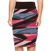 Bisou Bisou® Laser-Cut Stretch-Knit Skirt - Plus