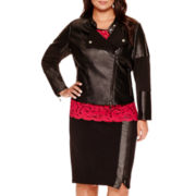 Bisou Bisou® Zip Moto Jacket, Faux Leather-Trim Lace T-Shirt or Zip-Front Pencil Skirt - Plus