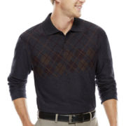 Haggar® Long-Sleeve Jacquard Knit Polo