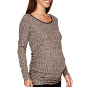 Maternity Long-Sleeve Ruched-Side Scoopneck Top - Plus