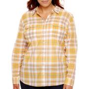 St. John's Bay® Long-Sleeve Roll-Tab Campshirt - Plus