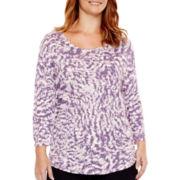 a.n.a® 3/4-Sleeve Back-Seam T-Shirt - Plus
