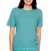 Alfred Dunner® Colorado Springs Short-Sleeve Solid Texture Sweater Shell