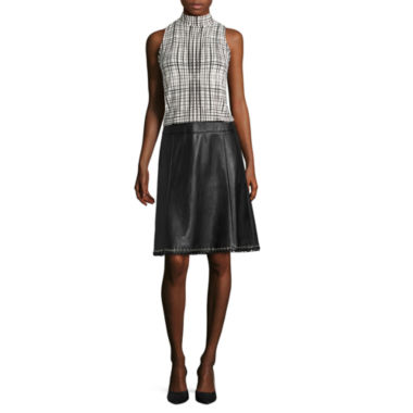 jcpenney.com | Worthington® Seamed Mockneck Top or Faux-Leather Eyelet-Hem Skirt - Tall