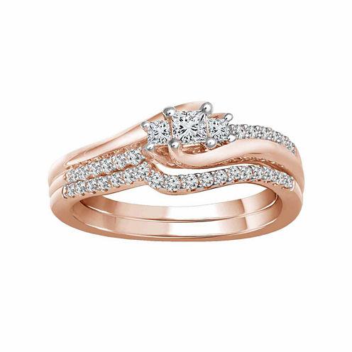 Womens 3/8 CT. T.W. White Diamond 10K Gold Engagement Ring