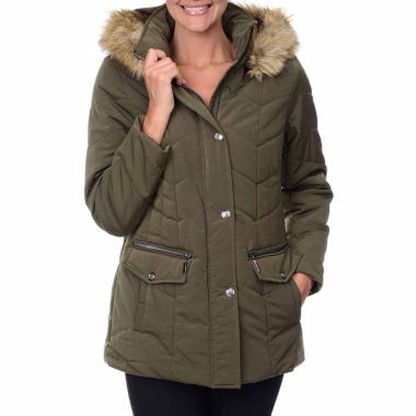 jcpenney.com | Fleet Street Box-Quilted Faux-Silk Parka with Faux-Fur Trim Hood