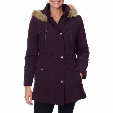 jcpenney.com | Fleet Street Quilted Faux-Silk Anorak with Faux-Fur Trim Hood