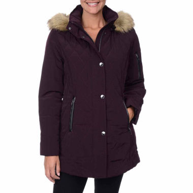 jcpenney.com | Fleet Street Faux-Silk Stadium Parka with Faux-Fur Trim Hood