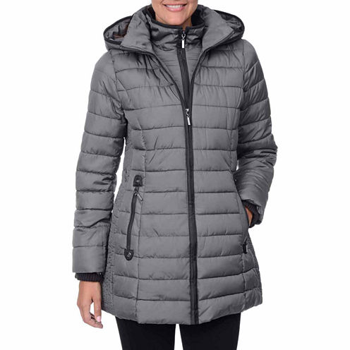 Fleet Street Horizontal Faux-Down Quilted Jacket with Bib and Hood