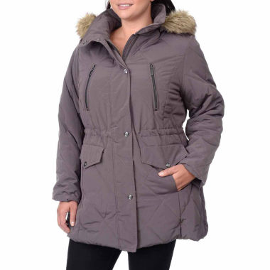 jcpenney.com | Fleet Street Quilted Faux-Silk Anorak with Faux-Fur Trim Hood - Plus