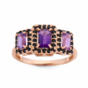 Genuine Amethyst Rose Gold Over Silver 3-Stone Ring