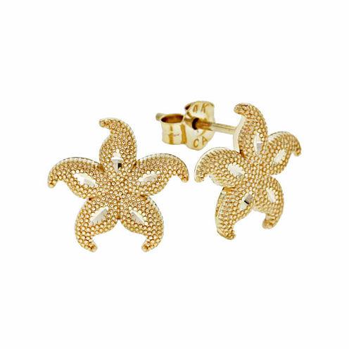 14K Gold Star Fish Stud Earrings