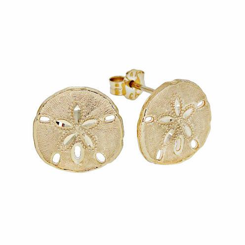14K Gold Sand Dollar Stud Earrings