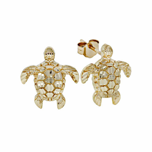 14K Gold Turtle Stud Earrings
