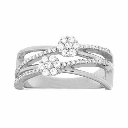 Diamond Blossom Womens 1/3 CT. T.W. White Diamond Sterling Silver Cocktail Ring