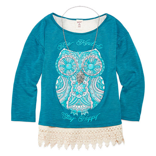 Arizona Crochet Hem Top with Necklace - Girls 7-16 and Plus