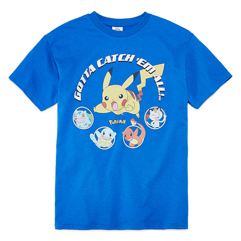 Short Sleeve Crew Neck Pokemon T-Shirt-Big Kid Boys