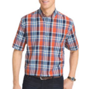 IZOD® Short-Sleeve Saltwater Plaid Button-Front Shirt