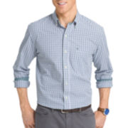 IZOD® Long-Sleeve Essential Tattersal Woven Cotton Poplin Shirt