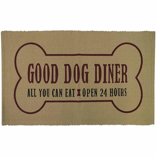 "P. B. Paws by Park B. Smith® 13"" x 19"" Dog Diner Cotton Pet Mat"