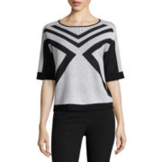 Worthington® Short-Sleeve Patterned Pullover Sweater - Tall