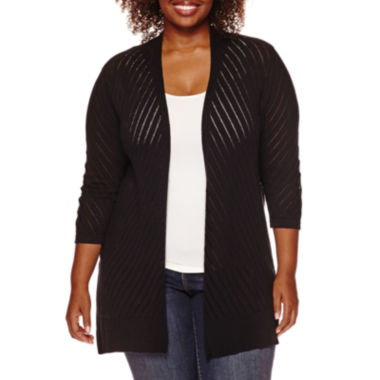 jcpenney.com | St. John's Bay® Long-Sleeve Pointelle Chevron Open-Front Cardigan - Plus