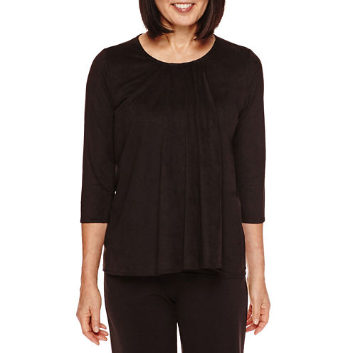 Sag Harbor® Artful Animal 3/4-Sleeve Faux-Suede Double Layer Top