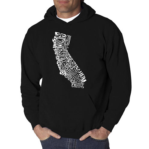 Los Angeles Pop Art California State Logo Hoodie-Big and Tall