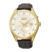 Seiko® Retrograde Mens Gold-Tone Brown Leather Strap Watch