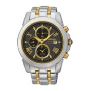 Seiko® Le Grand Sport Mens Two-Tone Black Dial Chronograph Watch