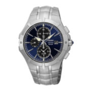 Seiko® Coutura Mens Silver-Tone Blue Dial Chronograph Watch